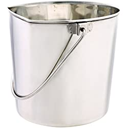 """ProSelect Stainless Steel Flat Sided Pails - Durable Pails for Fences, Cages, Crates, or Kennels - 8¾"""", 6-Quart"""