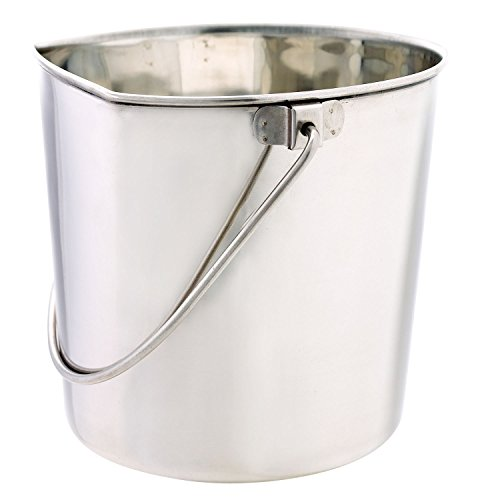 ProSelect Stainless Steel Flat Sided Pails — Durable Pails for Fences, Cages, Crates, or Kennels - 9¾