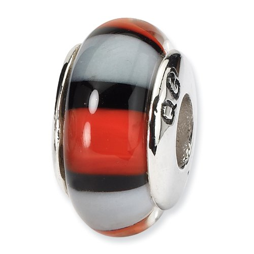 Sterling Silver Red & White Hand-blown Glass Bead