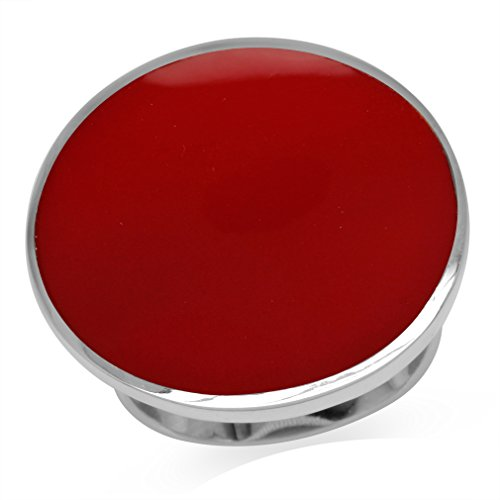 - 24MM Round Shape Created Red Coral Inlay White Gold Plated 925 Sterling Silver BIG Ring Size 9