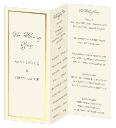 (Gold Foil Invitation, Program, Trifold, Ecru Cardstock Cardstock, 65lb, 50 Pack)