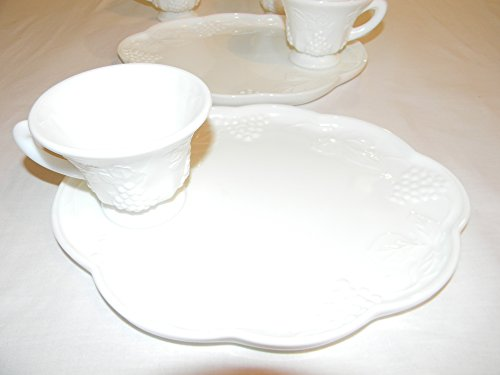 Indiana Colony Milk Glass Harvest Grape Snack Luncheon Cup & Plate Sets (Glass Milk Harvest Indiana Grape)