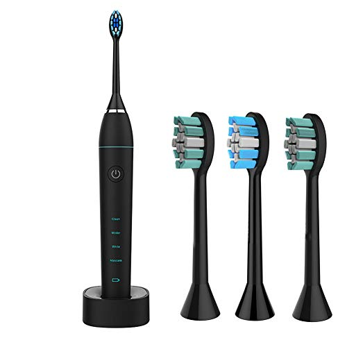 Electric Toothbrush Power Rechargeable Battery With Automatic Timer And 3 Replacement Brush Head Travel Case (Best Ry Rechargeable Batteries)