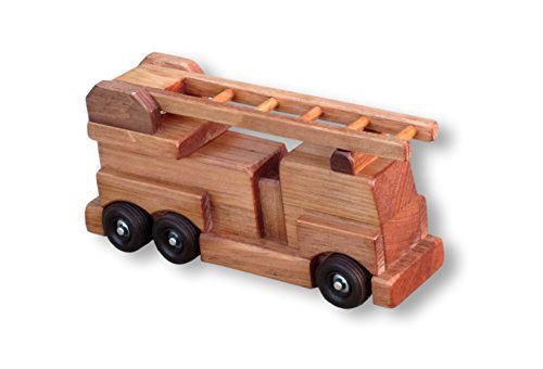 Amish-Made Wooden Toy Ladder Fire Truck, Kid-Safe Finish
