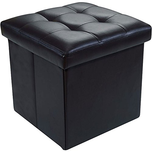 Sol Maya Faux Leather Folding Ottoman Storage Pouffe Box Seat Chest Foot Stool (Black)