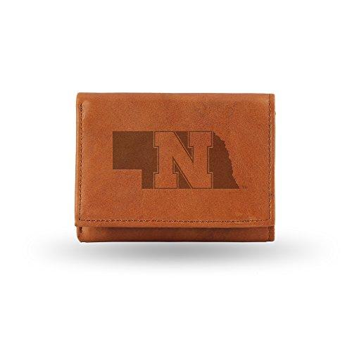 Rico Industries NCAA Nebraska Cornhuskers Embossed Leather Trifold Wallet, Tan