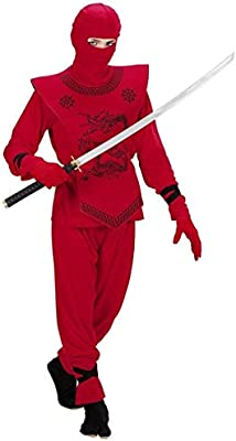 Para niños Red Ninja, traje y máscara, tamaño 140 8-10 años ...