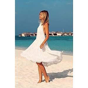 LIN vestido encaje Halter/Super sexy playa vestidos de la moda, XL