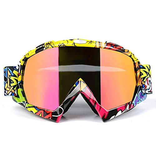 Youth Mx Goggle - Venhoo Motocross Goggles Dirt Bike ATV Motorcycle Off Road Racing MX Goggles UV Protection Dustproof Bendable Moto Riding Eyewear Glasses with Adjustable Strap for Unisex Adult-Colorful Lens