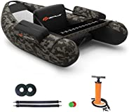 Goplus Inflatable Fishing Float Tube, with Storage Pockets, Fish Ruler, Adjustable Straps, 350LBS Load Bearing