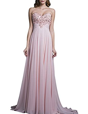 SeasonMall Womens Prom Dress A Line Sweetheart Peach Chiffon Evening Dress