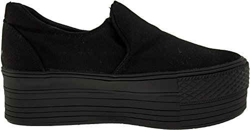 Maxstar C50 Spandex Low-Top Plattform Canvas Slip On Sneakers Schwarz