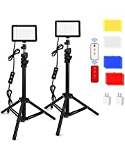 2 Pack 70 LED Video Light with Adjustable Tripod Stand/Color Filters/USB Wall Charger/Remote Control, Obeamiu 5600K USB Studio Lighting Kit for Photography Shooting, Collection Portrait
