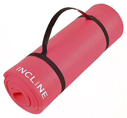 Incline Fit Extra Thick & Long Comfort Foam Yoga/Exercise Mat with Carrying Strap, Dragon Fruit
