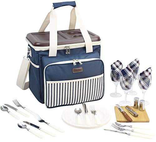 Picnic Cooler Bag Service Set for 4 Persons, Insulated Lunch Tote with Flatware, Plates for Outdoor Picnic - Hard EVA Formed Lid as Portable Table - Best Gift for Father Mother
