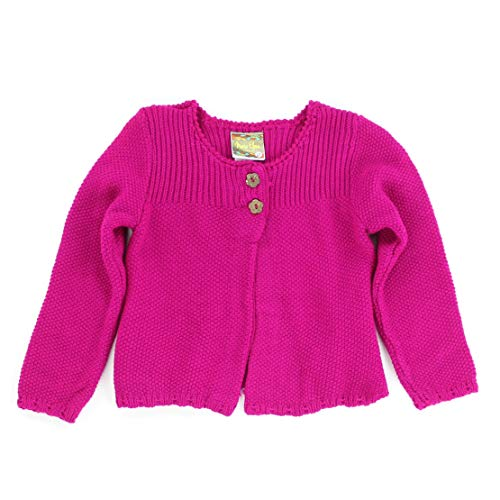 MARIA ELENA - Infant and Toddlers Knitted Cassadee-Love Garter Stitch Cardigan (Spring Magenta, 2T) ()