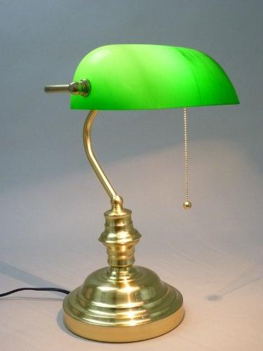 Tischleuchte Bankers Lamp mit Zugschalter Gestell messing Schirm grün, Schreibtischlampe Bankerslamp