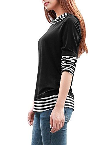Allegra K Striped Long Sleeve Hooded Black White XS Shirt For Women