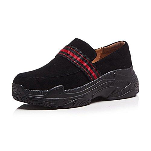 KJJDE Chaussures À Plateformes Femme WSXY-Q1420 Daim De Style Romain Coins Semelles Black l3IH91