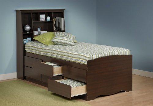 Prepac Manhattan Tall Twin Bookcase Platform Storage Bed in Espresso ()