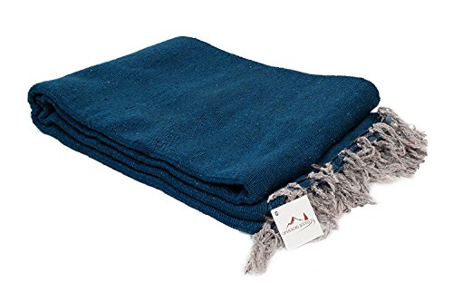 Handmade Slate Blue Yoga Blanket — Thick Mexican Blanket or Throw — Made for Yoga!