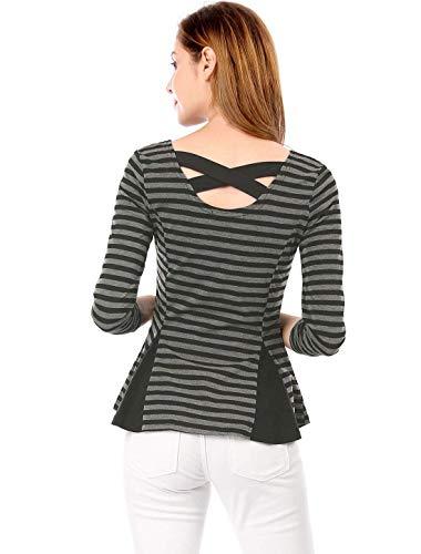 Tee Tshirts BOLAWOO Confortable U Grau Longues Col Femme Schwarz Mode Casual Crossover Shirts Shirt Elgante Printemps Rayures Chic Haut Manches Jeune qtrwatUn