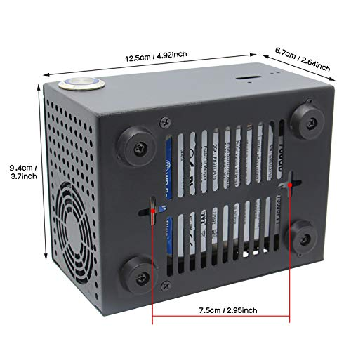 """Geekworm X825-C7 Metal Case with Momentary Power Switch&Cooling Fan for X825 2.5"""" SATA SSD/HDD Board & Raspberry Pi 4 Model B & X708 UPS/X735"""