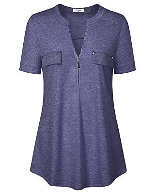 Ca Kra Short Sleeve Tunic Tops Women Zip V Neck Casual Plaid Shirt for Leggings