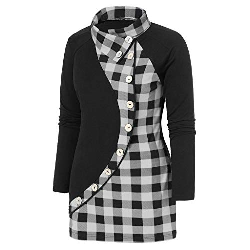 Malbaba Patchwork Long Blouse,Women Long Sleeve Plaid Print Button Shirt Casual Pullover Tops