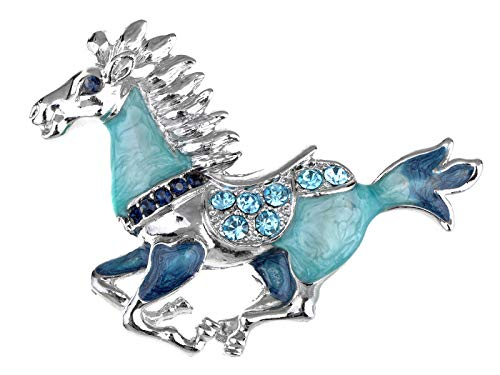 Alilang Womens Silver Tone Blue Rhinestones Horse Stallion Brooch - Pin Bow Sapphire