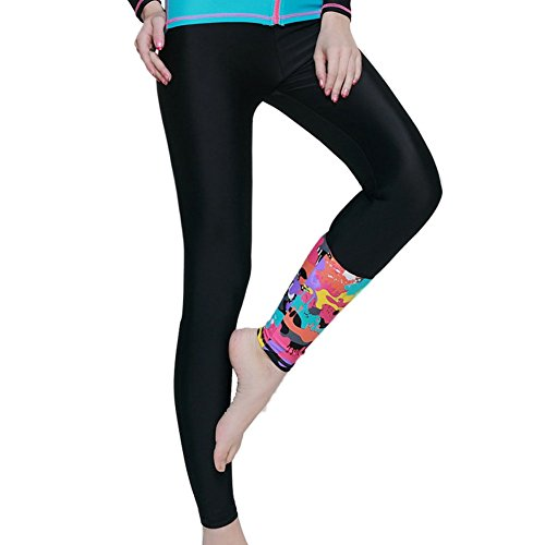Diving Girl's Laixing Snorkeling Black Women's Pants Floral Long Printed Swimming Surfing YYwpT5q
