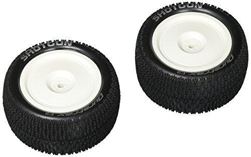 DuraTrax Shotgun 1:10 Scale RC 4WD Buggy Tires with Foam Inserts, C2 Soft Compound, Mounted on Rear White Wheels, Fits the Team Associated B44 (Set of (4wd Tires Wheels)