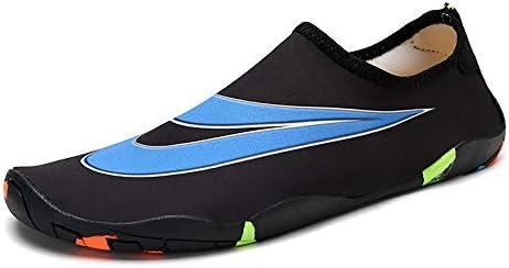 アウトドアビーチシューズ女性ブラック+ブルーパターンダイビングシューズシュノーケリングシューズ速乾性水流靴と男性水泳シューズマルチサイズ ポータブル (色 : Black, Size : US5.5)