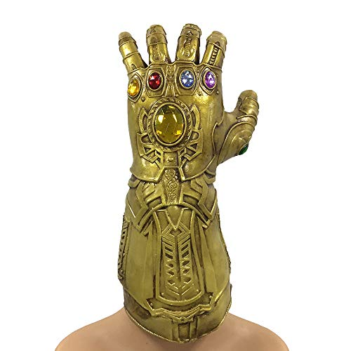 Latex Gauntlets - zhongcai ZhangHD Infinity War Thanos Infinity Gauntlet Thanos Glove Christmas Cosplay Gifts for Adults(Gold)