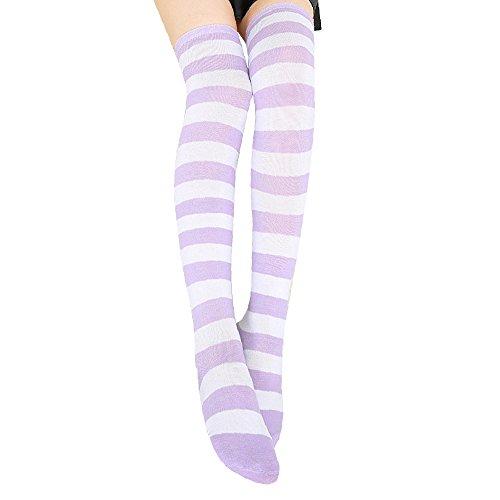 KINOMOTO Anime Long Striped Stockings Cosplay Over Knee Thign Hign Elegant Socks -