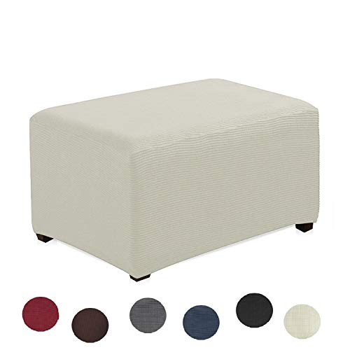 Argstar Jacquard Ottoman Cover Fleece Protector Stretch Slipcover White for Sofa Sets