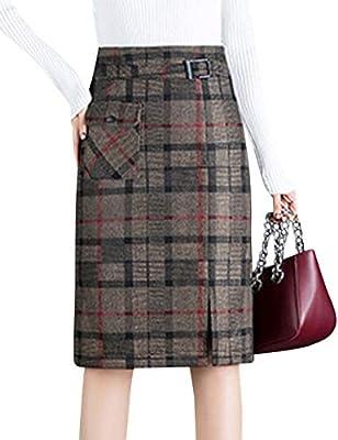 Tanming Women's Casual Side Zipper High Waist Plaid A-Line Knee Length Wool Skirt