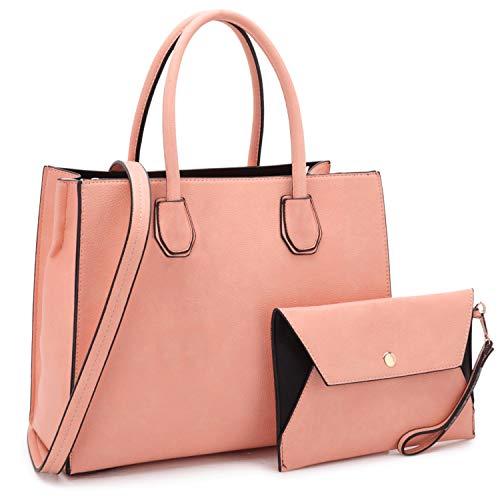 Women's Handbags Fashion Signature Top Handle Handbag 2 Pcs Set Satchel Hobo with Wallet for -