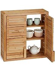 Relaxdays, Naturalna szafka ścienna z bambusa, 2 drzwi, półki o regulowanej wysokości, kwadratowa szafka wisząca, wys. x szer. x gł.: 56,5 x 56 x 21 cm
