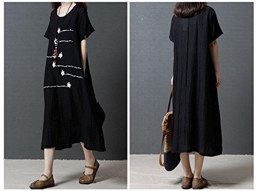 Dress Sleeve Loose Linen Short Midi Tunic Long Black Women's ET0qZ