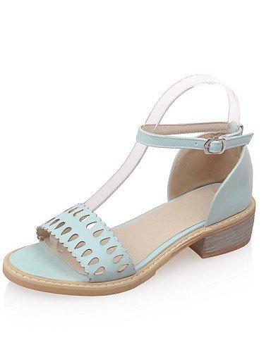 sintética Tacón de Sandalias Rosa Casual punta mujer Piel para ShangYi Azul Beige bajo abierta Blanco Beige Zapatos qHFITW