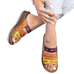 Volwco Women Chic Three-Color Stitching Sandals,Summer Ladies Wedge Sandals Low Heel Slipper Footwear Peep-Toe Shoes