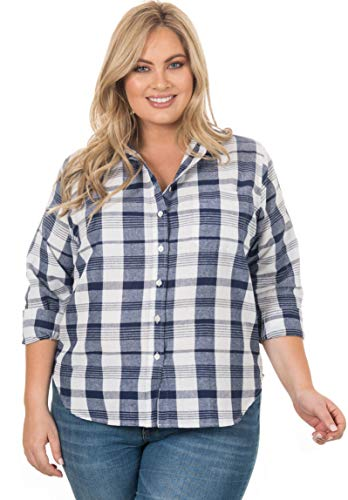 CAMIXA Women's Gingham Shirt Plus Size Checkered Casual Curvy Button Down Plaid X3 Navy/White
