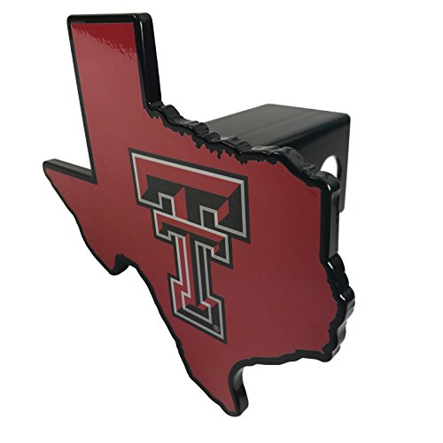 AMG Auto Emblems Texas Tech University Red Raiders Premium SOLID METAL Heavy Duty Hitch Cover - Texas Shaped