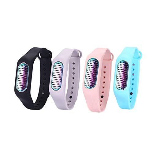 patent Aromatherapy Essential Oil Diffuser Bracelet sports aroma wristband silicon+metal with cotton pad(1 pack includes 1metal&4bands&10pcs pads) (Gradients(metal)+Pink,Black,Aqua&grey(bracelets))