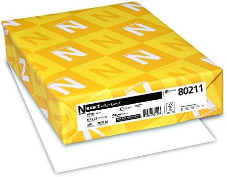 "Neenah Paper Exact Vellum Bristol, 67 lb, 8.5 x 11"", 250 Sheets, White, 94 Brightness (80211)"