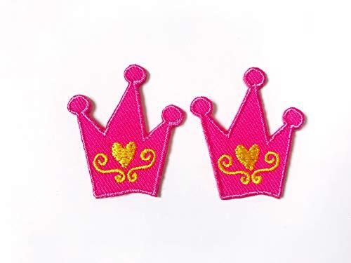 Tyga_Thai Brand Set 2 pcs. Mini Pink Crown Cute Cartoon Logo Jacket T-Shirt Sew Iron on Embroidered Applique Badge Sign Patch Clothing etc. (Iron-Pink-Crown-Mini)