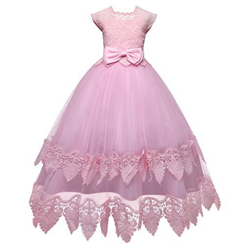 iZHH Children Girl Bowknot Princess Formal Wedding Party Sleeveless Tutu Dress(A-Pink,9-10T) ()