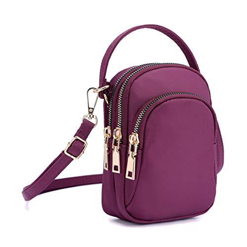 Nylon Purple Travel Wallets - Yogwoo Women Small Bags Crossbody Pockets Cell Phone Purse 3 Zipper Pockets Waterproof Nylon Cycling Travel Hiking Outdoor Purple