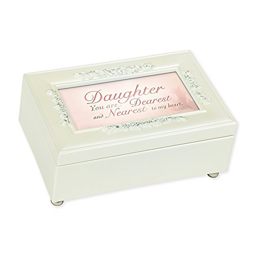 Heart Cream Pearlescent Music Box Plays Tune- You Light Up My Life (Dearest Heart)